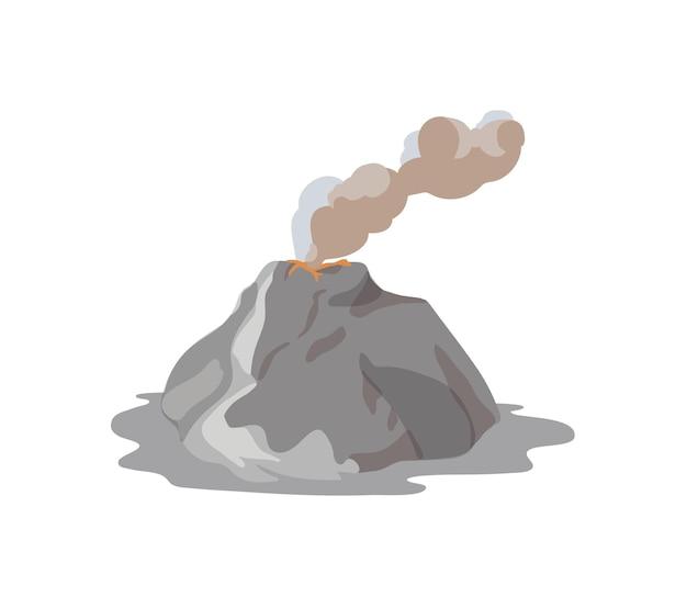 Wulkan wybucha i emituje parę, chmurę pyłu i magmę na białym tle. erupcja wulkanu i aktywność sejsmiczna. klęska żywiołowa. ilustracja wektorowa kolorowe w stylu cartoon płaskie.