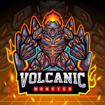 Wulkaniczna zmutowana maskotka potwora. projektowanie logo esport