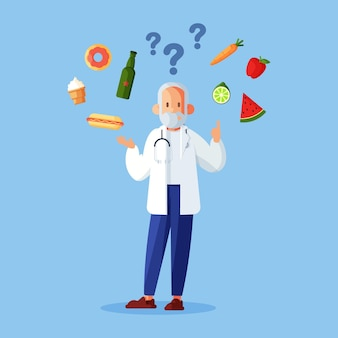 Wybieranie zdrowej lub niezdrowej żywności