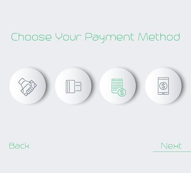 Wybierz metodę płatności, ilustracja wektorowa