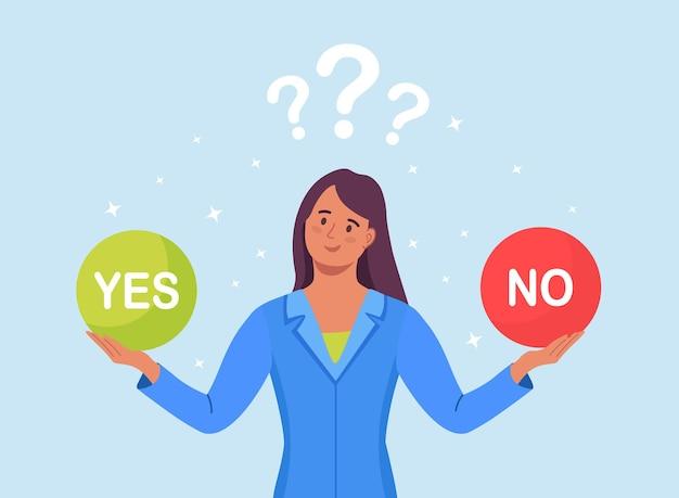 Wybierz pomiędzy tak lub nie. kobieta myśli o problemie, podejmuje decyzję. dziewczyna zdezorientowana trudnym wyborem. poszukiwanie równowagi