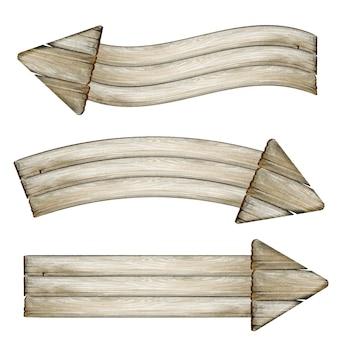 Wyblakłe drewniane banery ze strzałkami