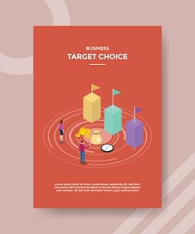 Wybór celu biznesowego ludzie przód wykres słupkowy flaga pieniądze na szablon ulotki