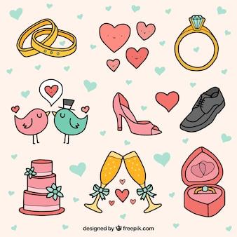 Wybór cute obiektów ślubnych w ręcznie rysowane stylu