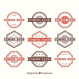 Wybór czerwonych i brązowych znaczków promocyjnych