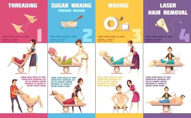 Wybór depilacji usuwania włosów dla każdego obszaru problemowego 4 pionowe banery infografika kreskówka collec