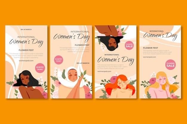 Wybór Historii Na Instagramie Z Okazji Międzynarodowego Dnia Kobiet Darmowych Wektorów