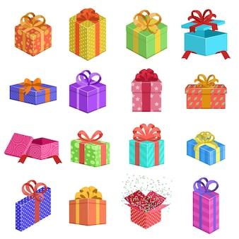 Wybór kolorowych pudełek na prezenty