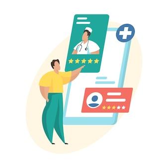 Wybór lekarza poprzez aplikację mobilną. lekarze oceniają i recenzują. konsultacja medyczna online. pacjent oceniający ranking lekarzy. płaska ilustracja wektorowa