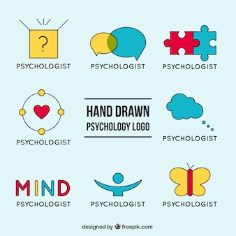 Wybór logo psychologii z różnych kolorach