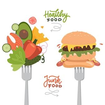 Wybór między zdrową żywnością a szybkim fast-foodem na widelcach