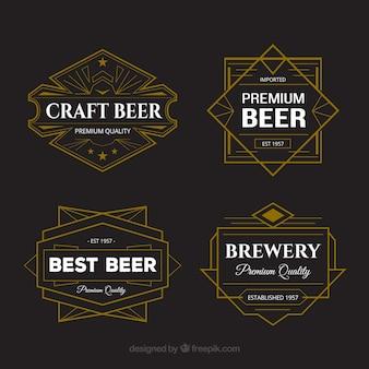 Wybór nalepek piwa z geometrycznym wzorem