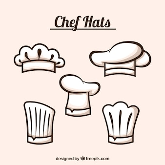 Wybór pięciu płaskich kapeluszy kucharzy