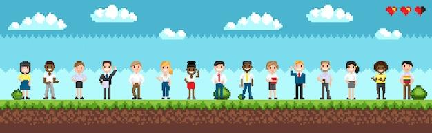Wybór postaci do grania w grę pixel
