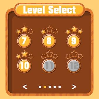 Wybór poziomu, postęp gracza. wektorowy graficzny interfejs użytkownika do gier wideo. jasne menu z przyciskami i złotymi gwiazdkami. tekstura drewna.