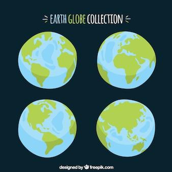 Wybór ręcznie rysowanych globusów ziemskich