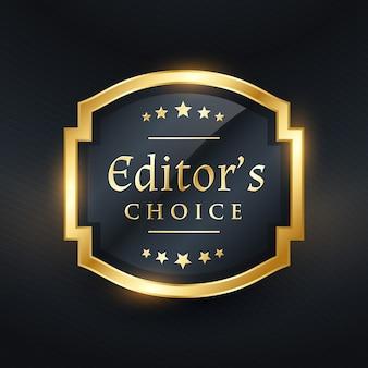 Wybór redaktora złoty projekt etykiety