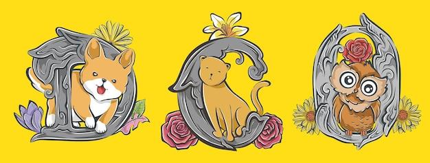 Wybór słodkiej, ręcznie rysowanej kreskówki zwierząt