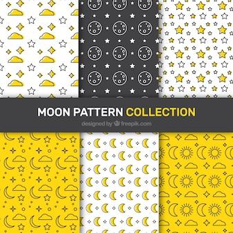 Wybór sześciu płaskich wzorów z księżyców i gwiazd