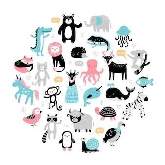Wybór uroczych, ręcznie rysowanych zwierząt