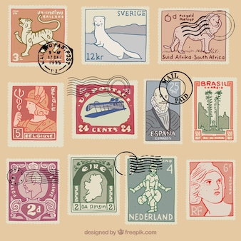 Wybór zabytkowych znaczków pocztowych