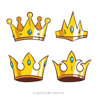 Wybór złotych koron w ręcznie rysowanym stylu
