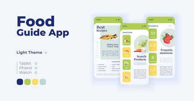 Wybór żywności app kreskówka interfejs wektor zestaw szablonów. projektowanie trybu dziennego strony ekranu aplikacji mobilnej. najlepsze przepisy, pożywne dania. interfejs użytkownika aplikacji. wyświetlacz telefonu z płaskimi przedmiotami
