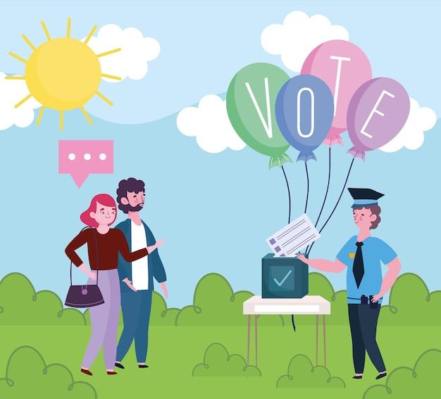 Wyborcy różnych zawodów oddający karty do głosowania w lokalu wyborczym ilustracji
