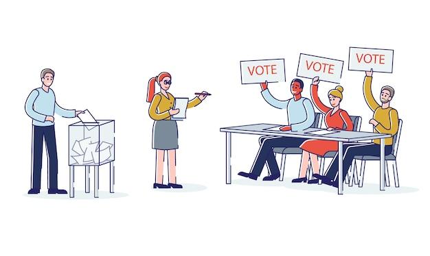 Wybory i demokracja: ludzie głosujący na kandydata na prezydenta