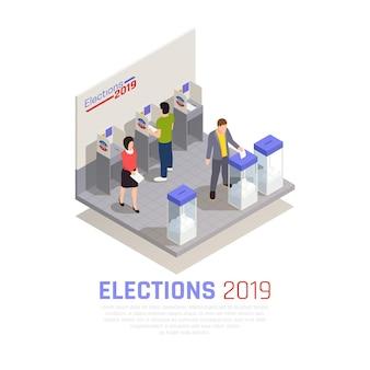 Wybory i głosowanie izometryczna koncepcja z urną wyborczą i ilustracją wektora ludzi
