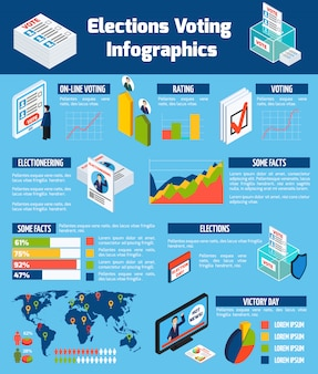 Wybory i głosowanie izometryczne infografiki