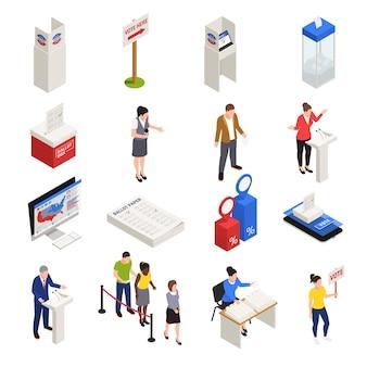 Wybory i ikony do głosowania zestaw izometryczny na białym tle