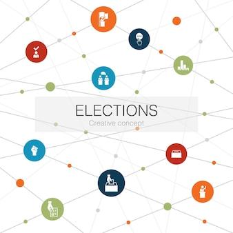 Wybory modny szablon sieci web z prostymi ikonami. zawiera takie elementy jak urna wyborcza, kandydat, wyjdź z ankiety