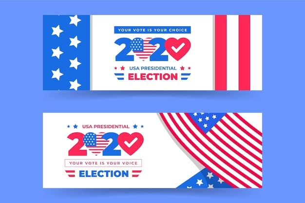 Wybory prezydenckie 2020 w kolekcji banerów w usa
