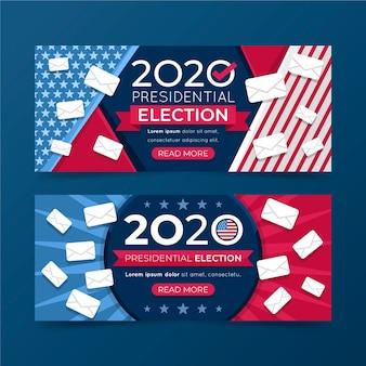 Wybory prezydenckie 2020 w ustawionych banerach w usa