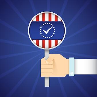 Wybory prezydenckie płaska koncepcja z ręki trzymającej lupę z flagą usa na niebiesko promieniowej