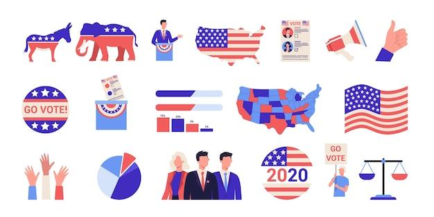 Wybory prezydenckie w zestaw ikon w usa. kampania wyborcza . idea polityki i rządu amerykańskiego. ludzie głosują na kandydata. demokracja i rząd.