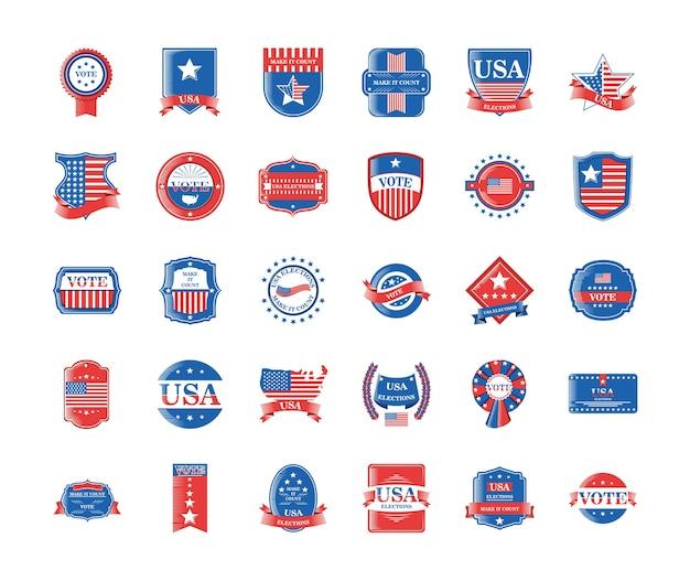 Wybory w usa i głosowanie w szczegółowym stylu 30 zestaw ikon, dzień prezydenta