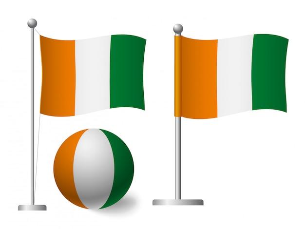 Wybrzeże kości słoniowej - flaga wybrzeża kości słoniowej na ikonę bieguna i piłki
