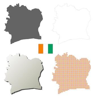 Wybrzeże kości słoniowej wektor zarys zestaw map