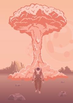 Wybuch atomowy na marsie lub innej planecie. astronauta w skafandrze na tle eksplozji. testowanie broni kosmicznej. ilustracja.