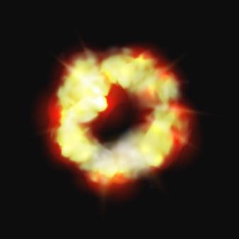 Wybuch bomby i ognia na białym tle kreskówka płonąca chmura wektor dynamit detonator mobilna i gra ui