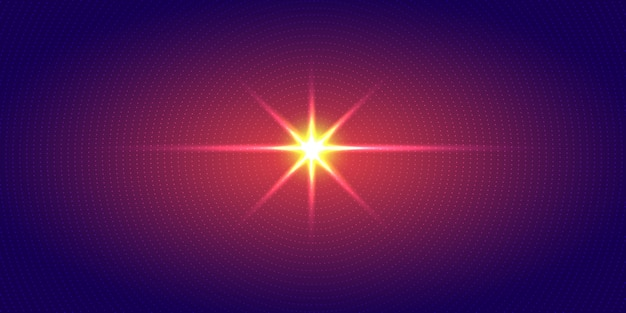 Wybuch czerwone światło promieniowe kropki niebieskie tło.