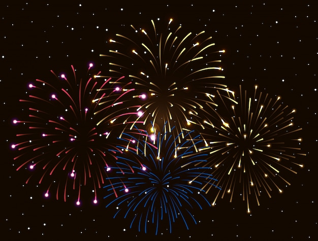 Wybuch fajerwerków na ciemnym niebie w nocy, obchody nowego roku