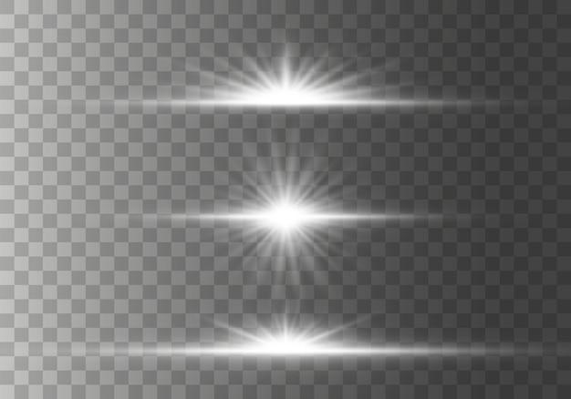 Wybuch gwiazd z iskierkami efekt światła świecącego, gwiazdy, iskry, flara, wybuch. zestaw świecących poziomych flar soczewek gwiazd, promienie z kolekcji bokeh na przezroczystym tle. ilustracja