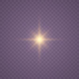 Wybuch gwiazdy z iskierkami. złoty brokat jasna gwiazda.
