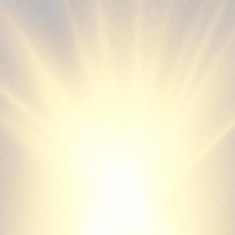 Wybuch gwiazdy żółty blask światła promienie słoneczne jasna i lśniąca złota gwiazda