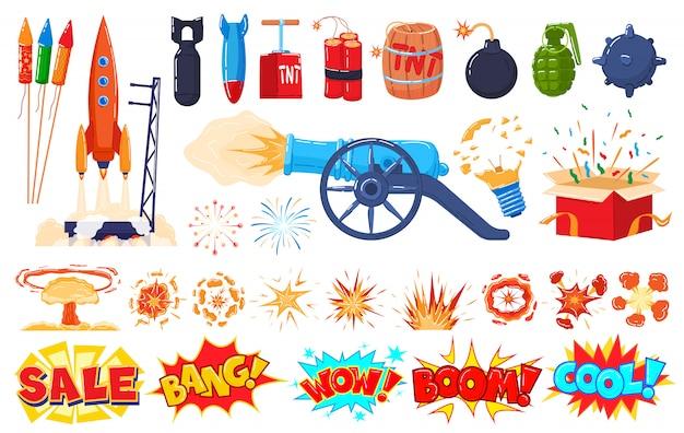 Wybuch ikony ustawiać na bielu, kreskówka wybuchu, bomby i fajerwerku majcherach, ilustracja