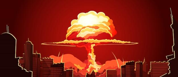 Wybuch jądrowej pieczarki chmury retro plakat