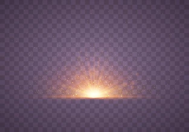 Wybuch jasnej gwiazdy z błyskami. przezroczyste świecące słońce.